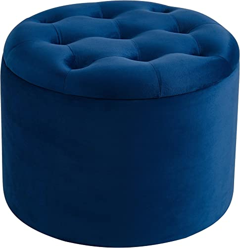 Button Tufted Velvet Storage Ottoman