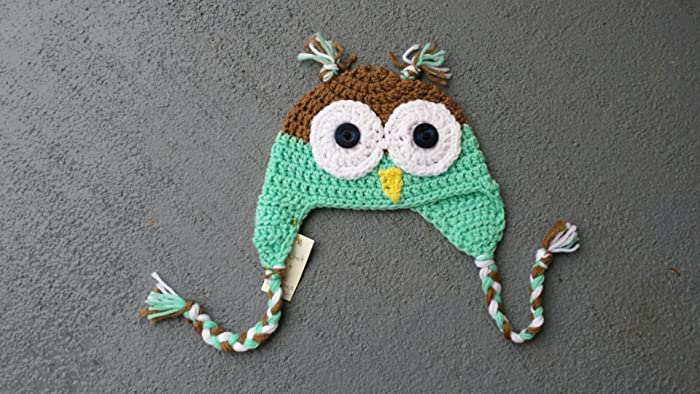 Amazon Handmade Owl Hat Baby Size 6 To 12 Months Ready To