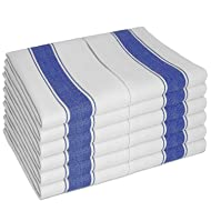 "SMARTZ Dish Towels Set with Loops 12-Piece,  White with Blue Stripes - Cotton, 20"" x 28"""