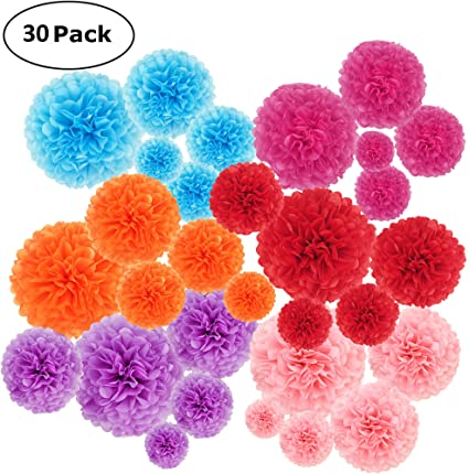 handmade-wedding party birthday decorations Purple color tissue paper Pom Poms