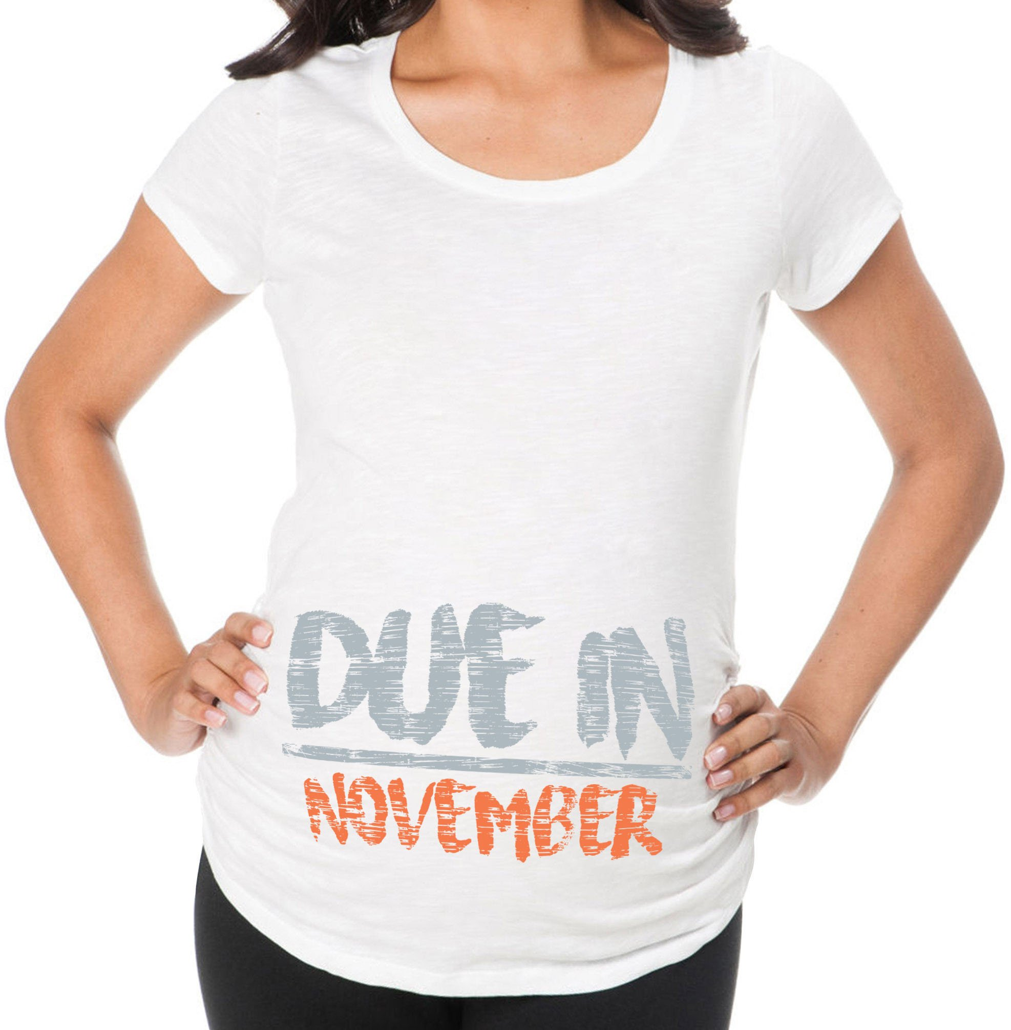 Awkward Styles Due In November Pregnancy Announcement Maternity T Shirt Baby Shower White L