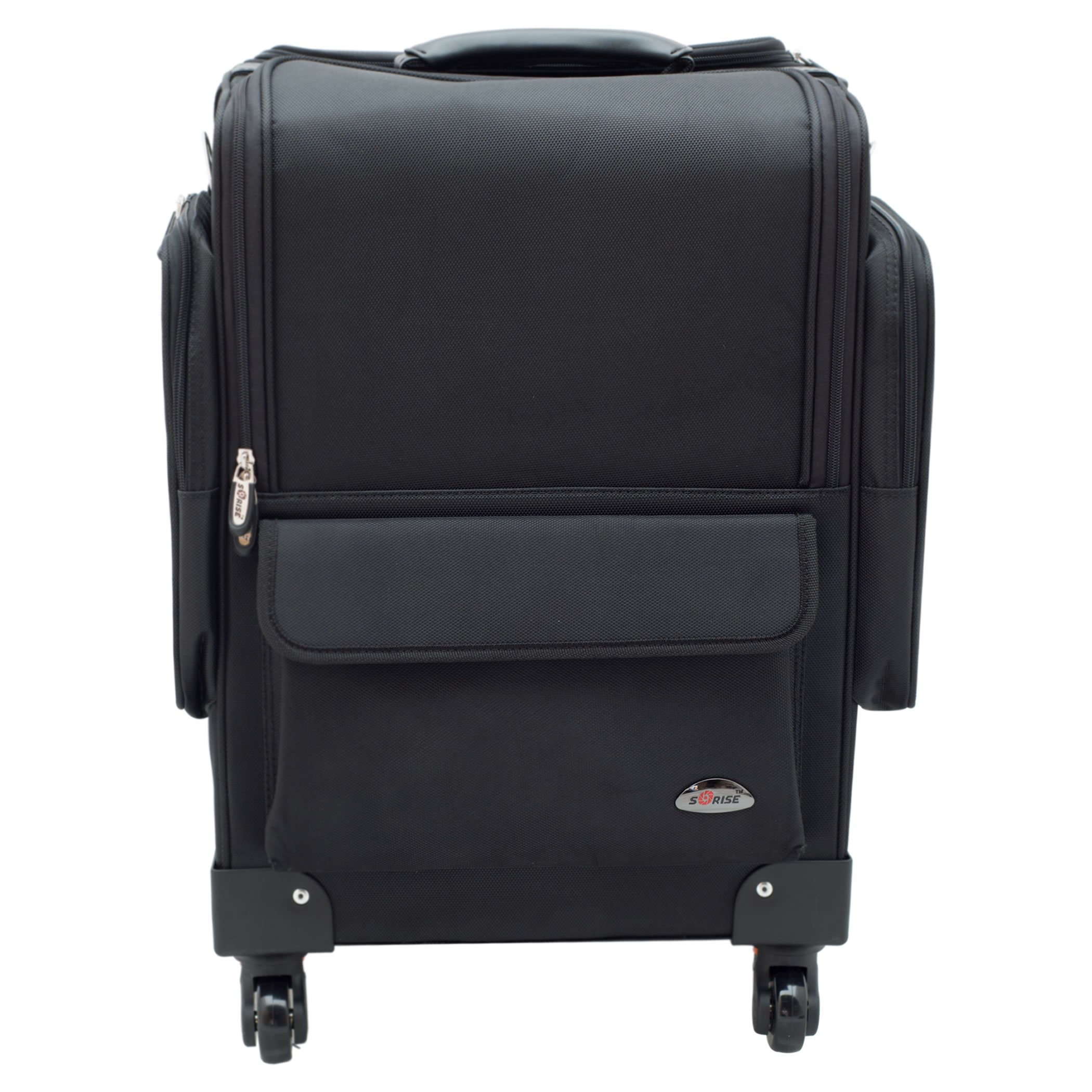 SUNRISE Soft Makeup Case on Wheels C6403 Professional Storage, 4 Wheel Spinner, 8 Trays with Adjustable Dividers, Outside Pockets, Black Nylon