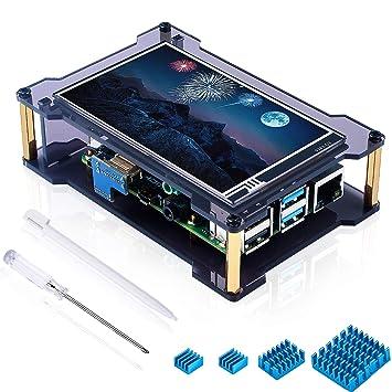 Amazon.com: Miuzei Raspberry Pi 4 pantalla táctil con funda ...