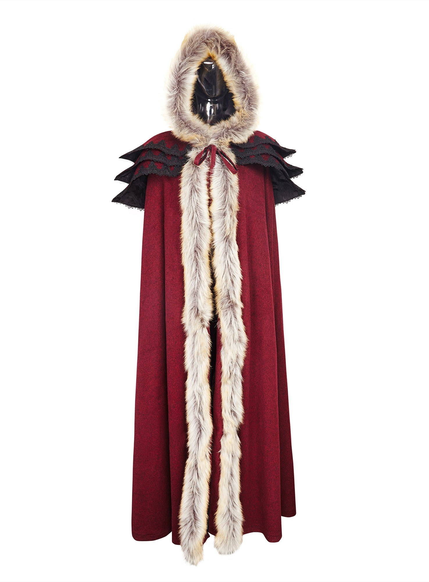 Punk Rave Women's Medieval Fluffy Faux Fur Trimmed Cape Full Length Hooded Cloak Coat(Red) by Punk Rave (Image #5)