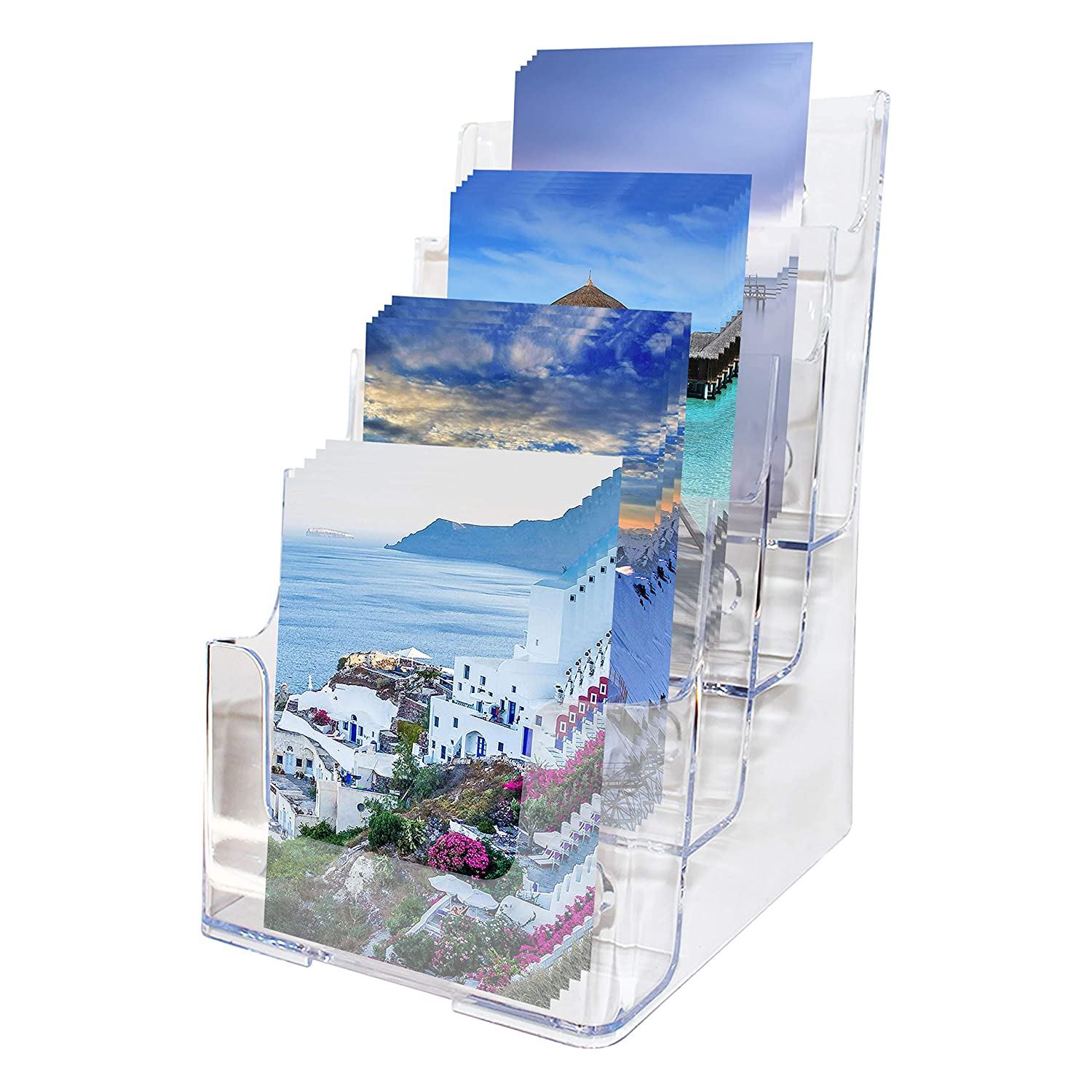 BELLE VOUS Multi-tier Acrylic Literature Holder With Leg for Wall or Desktop - Clear Display Stand Holds Flyers, Leaflet, Pamphlet and Brouchers - 4 x A5 Pockets Size With 2 Holes For Wall Mounting