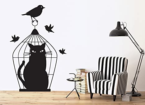 Wall Sticker Vinyl Decal Bird Caught in Cage Sad Cat Deception Outwitted n117