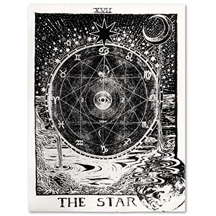 f89971bf3 Uphome Tarot Zodiac Tapestry, Antique Psychedelic Black Starry and Moon with  River Around The Constellation