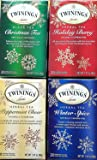 Christmas Tea Gift Set - Twinings Christmas Tea, Holiday Berry, Peppermint Cheer, Winter Spice - Variety Pack of 4 Boxes - 20 Teabags Each, Total 80 Tea Bags