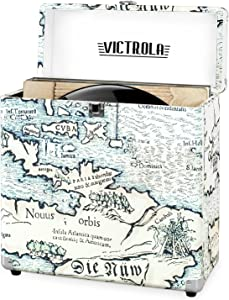 Victrola Vintage Vinyl Record Storage Carrying Case for 30+ Records, Retro Map