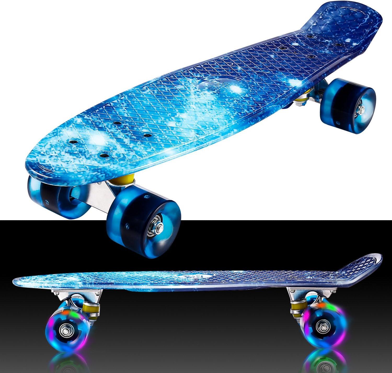 Skateboard Cruiser 22 in 8 verschiedenen Farben mit LED-Rollen RollingBull