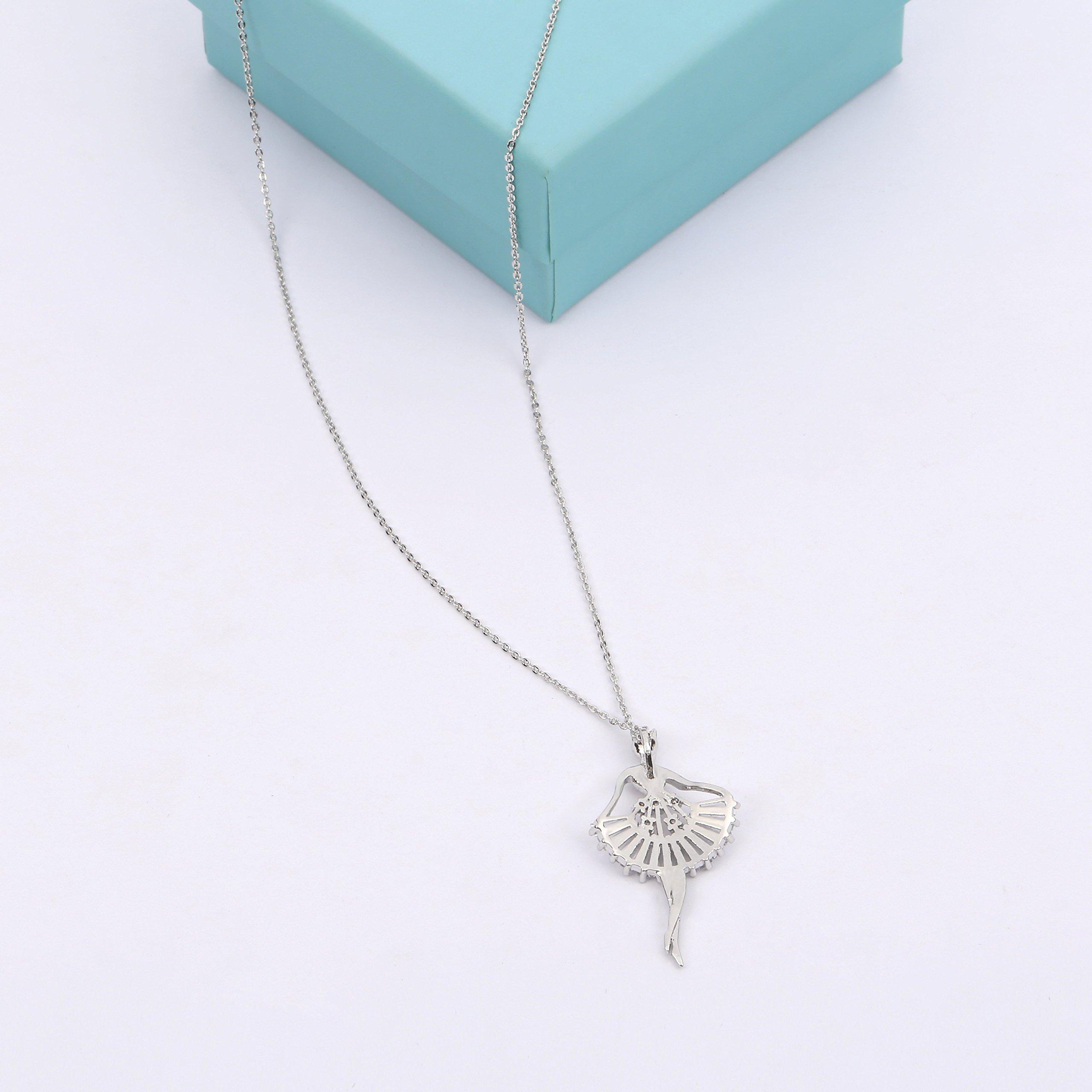 MYKEA Elegant Jewelry Set for Women 18K White Gold Ballerina Girl Pendant Necklace with Cubic Zirconia Stud Earrings for Teen Girls Jewelry by MYKEA (Image #5)