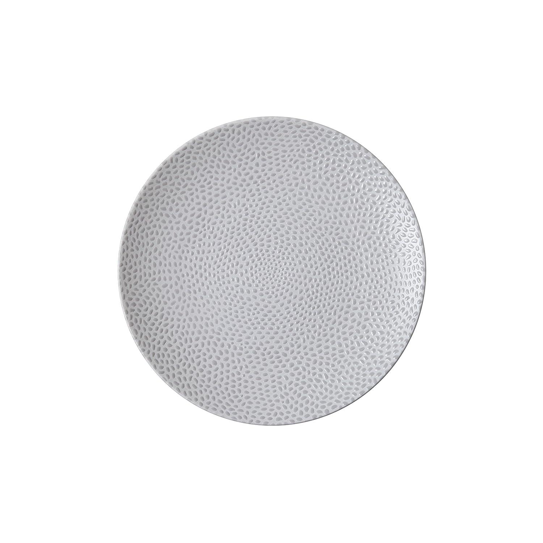 Matte Grey D&V 6 Piece Cobble TechnoCeram Dinnerware Plate Set, 8.25 , Matte Black