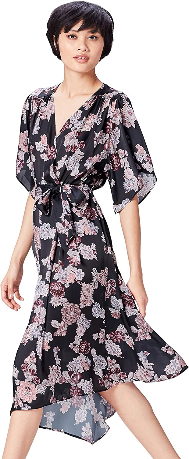 TALLA 40 (Talla del Fabricante: Medium). Marca Amazon - find. Vestido Estampado de Flores Para Mujer Negro (Black Mix) 40 (Talla del fabricante: Medium)
