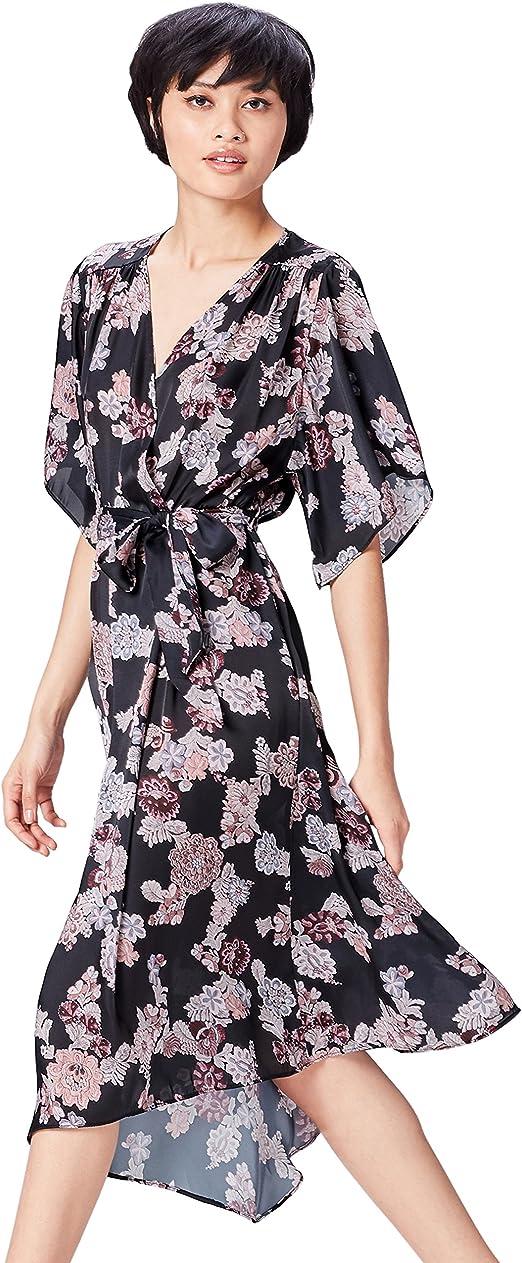 TALLA 44 (Talla del Fabricante: X-Large). Marca Amazon - find. Vestido Estampado de Flores Para Mujer Negro (Black Mix) 44 (Talla del fabricante: X-Large)