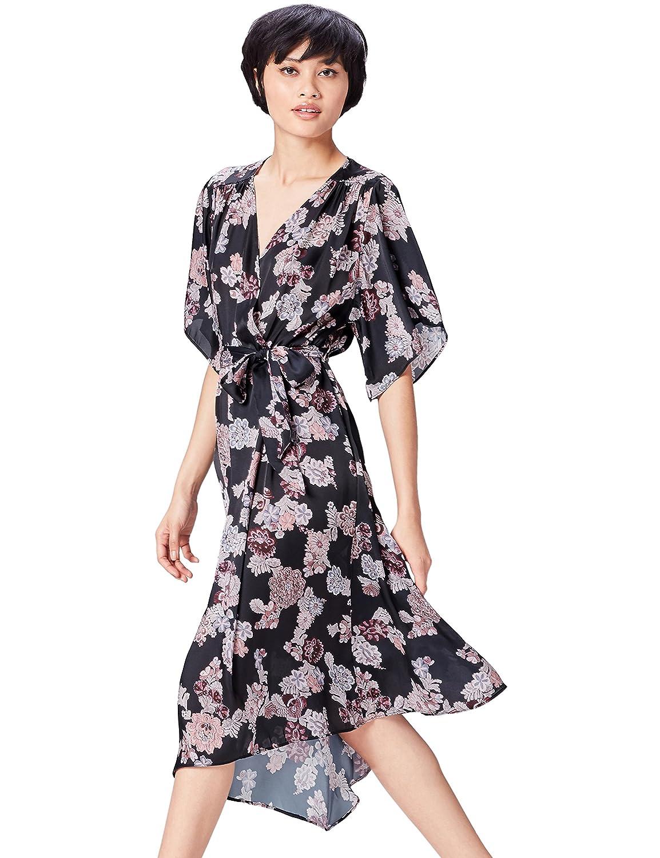 TALLA 36 (Talla del fabricante: X-Small). Marca Amazon - find. Vestido Estampado de Flores Para Mujer Negro (Black Mix) 36 (Talla del fabricante: X-Small)