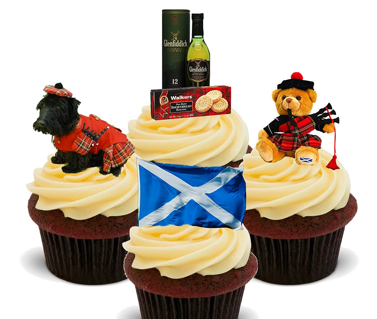 Scotland Fun Pack, Edible Cupcake Toppers - Stand-up Wafer Cake ...