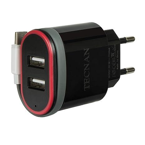 tecnan - Cargador USB con 2 Puertos USB (Incluye Cable de ...