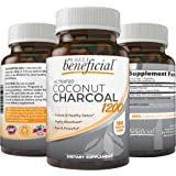 Organic Activated Coconut Charcoal 1200mg, 180 Capsules - Pills for Digestive System, Bloating, Detoxification, Teeth Whiteni