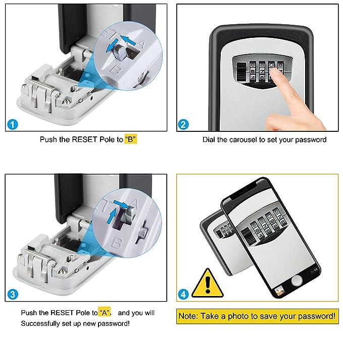 Diyife - Caja de cerradura para llaves con gancho, [versión actualizada] [montaje en pared] combinación caja de seguridad para llaves de casa o garaje: ...