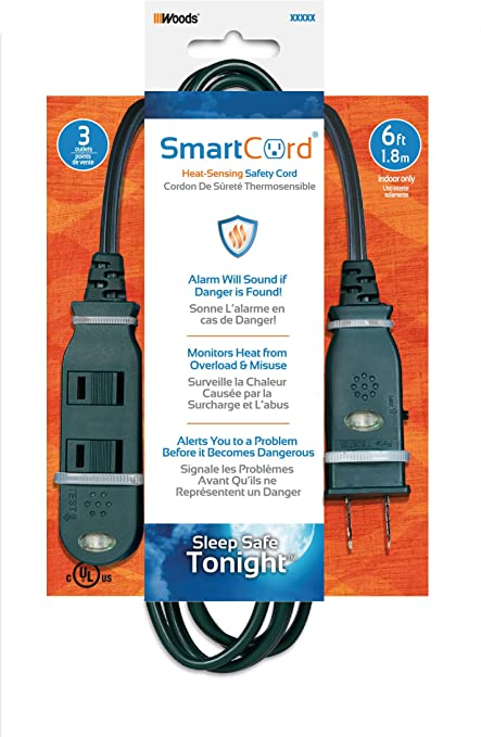 SmartCord Safety 3Outlet Extension Pwr Cord w// Heat-Sensing Alarm,White,12-Foot