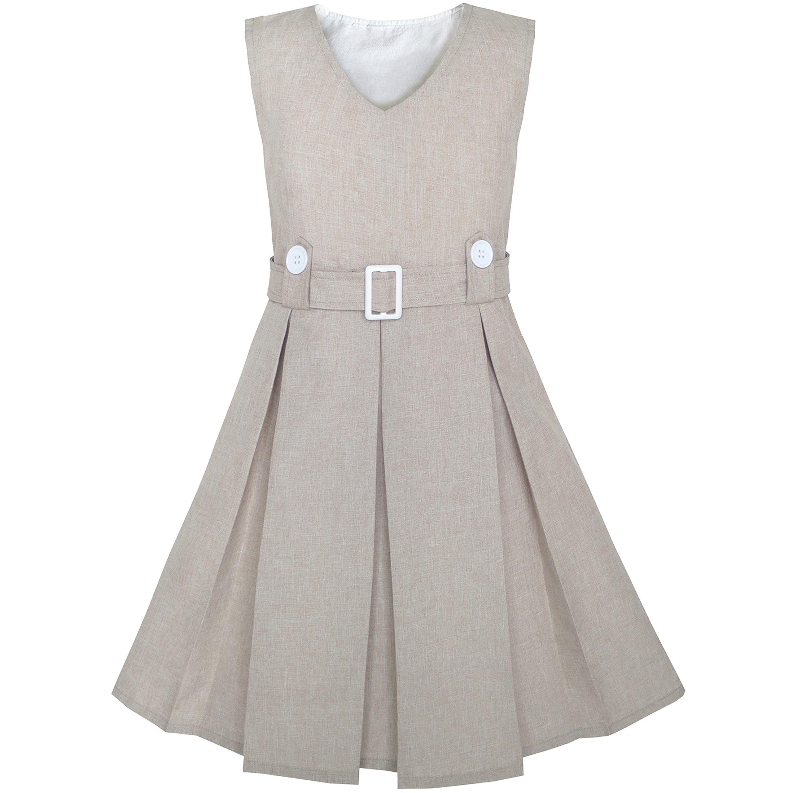 KV72 Girls Dress Beige Button Back School Pleated Hem Size 7