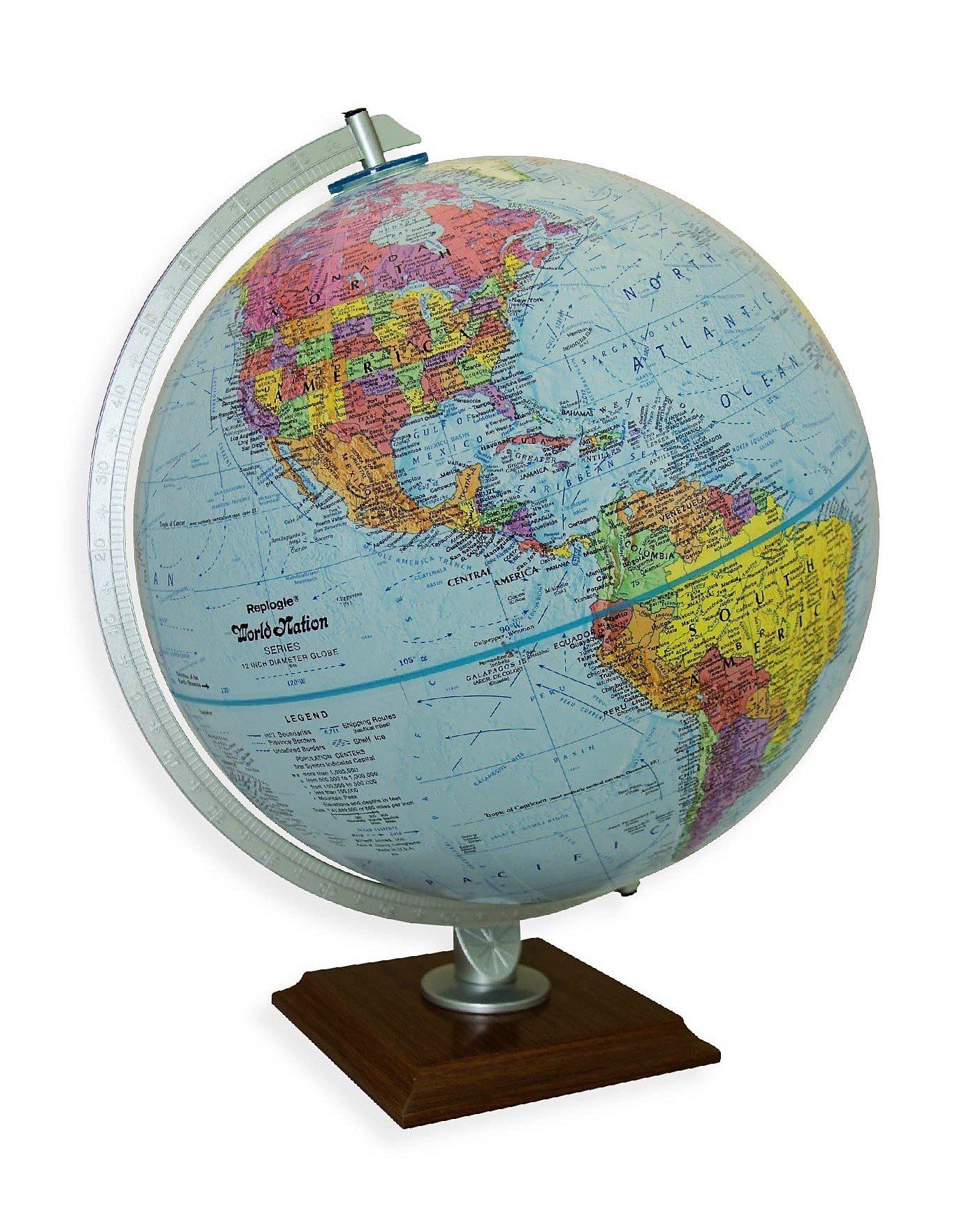 Replogle Timeless - Classic Blue Ocean Desktop World Globe, Cherry Wood Square Base, Over 4,000 Place Names, Designed for Antique-Style Home Décor (12''/30 cm diameter)