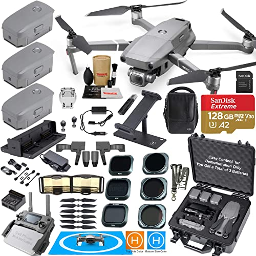 DJI Mavic 2 PRO Drone Quadcopter Fly More Kit Bundle with 3 Batteries, Hard Rugged Carrying Case, ND Rotating Adjustable Polarizer Filter Set Must Have Accessories 12 Items