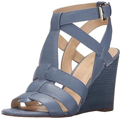 1036a9746 Nine West Women s FARFALLA Leather Wedge Sandal