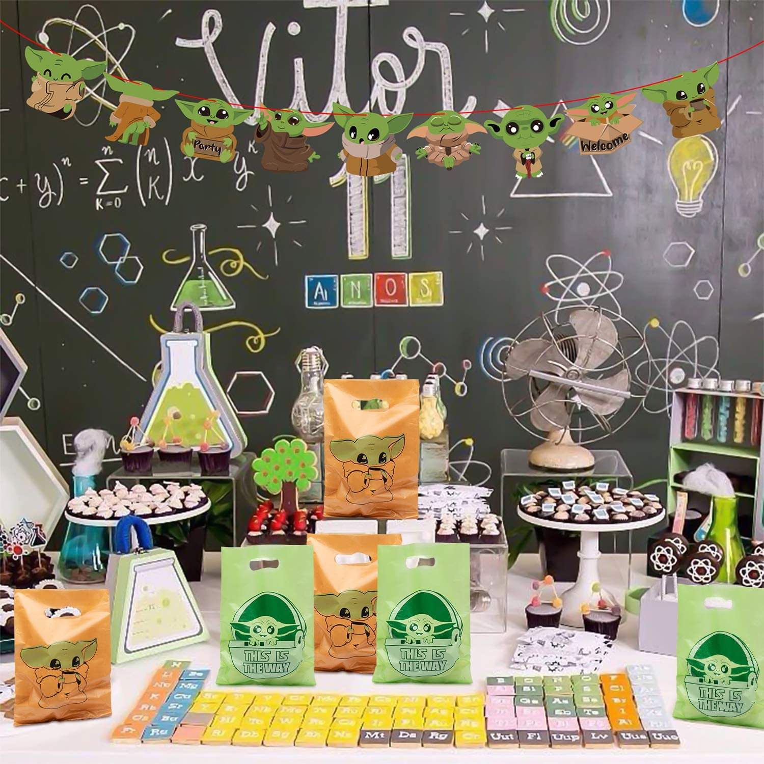 60Pcs Baby Yoda Party Favor Bag with Handles Space War Theme Plastic Bags This Is The Way Green Orange Candy Treat Goodie Sack Galaxy Wars Birthday Supplies Decorations Pack Loot Gift for Kid Boy Girl