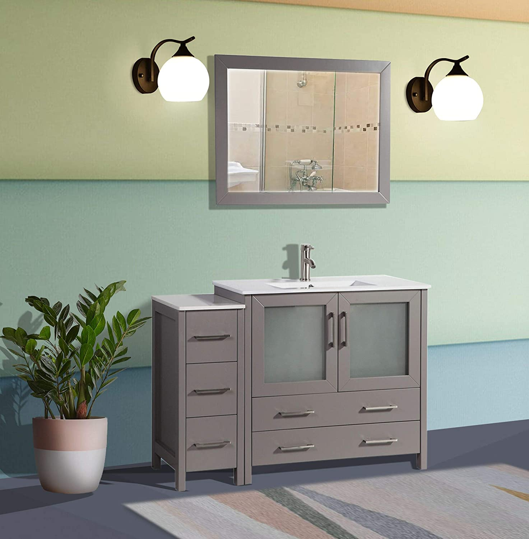Amazon Com Vanity Art 48 Inch Single Sink Modern Bathroom Vanity Combo Set 1 Shelf 5 Drawers Ceramic Top Bathroom Cabinet With Free Mirror Va3036 48 G Kitchen Dining