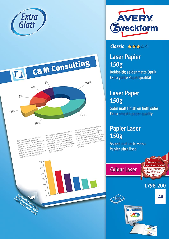 Avery Dennison Classic / 1798-200 Papier pour impression laser couleur A4 / 150g Blanc 200 feuilles (Import Allemagne)
