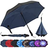 Repel Reverse Folding Inverted Umbrella with 2 Layered Teflon Canopy with Reinforced Fiberglass Ribs