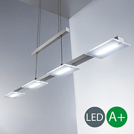 4x4W Lámpara colgante metal y plastico LED 230V, regulable en altura, luz blanco cálido 3000K, Color níquel mate, IP20