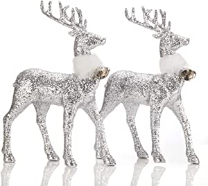 iPEGTOP 2 Pcs Glitter Reindeer Decor Christmas Standing Deer Figurines with Ring Bell, 12.6