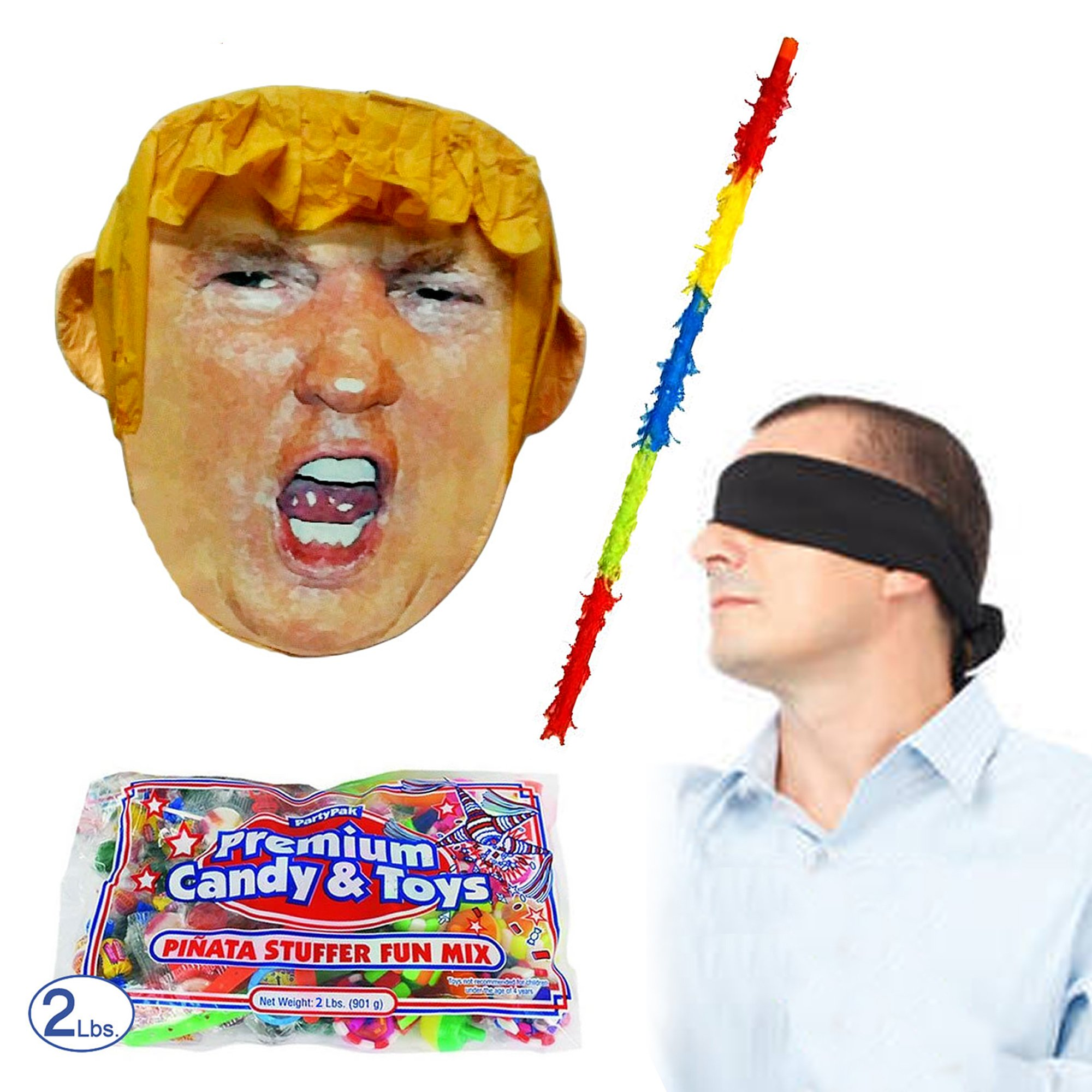 Pinatas Mr. President Donald Trump Pinata Kit Including Pinata, Buster Stick, Bandana and 2 lbs. Candy Filler
