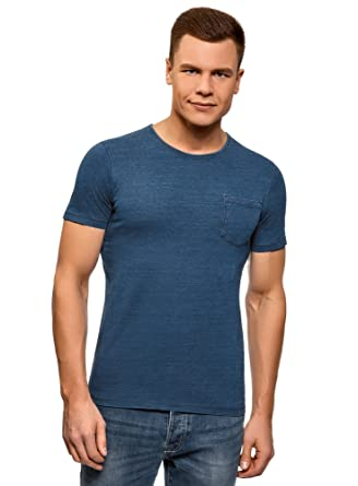 69c75b3cd259 oodji Ultra Homme T-Shirt en Coton avec Poche Poitrine  Amazon.fr ...