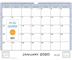 """Blue Sky 2020 Monthly Wall Calendar, Twin-Wire Binding, 15"""" x 12"""", Lindley, White, (Model: 101591-20)"""