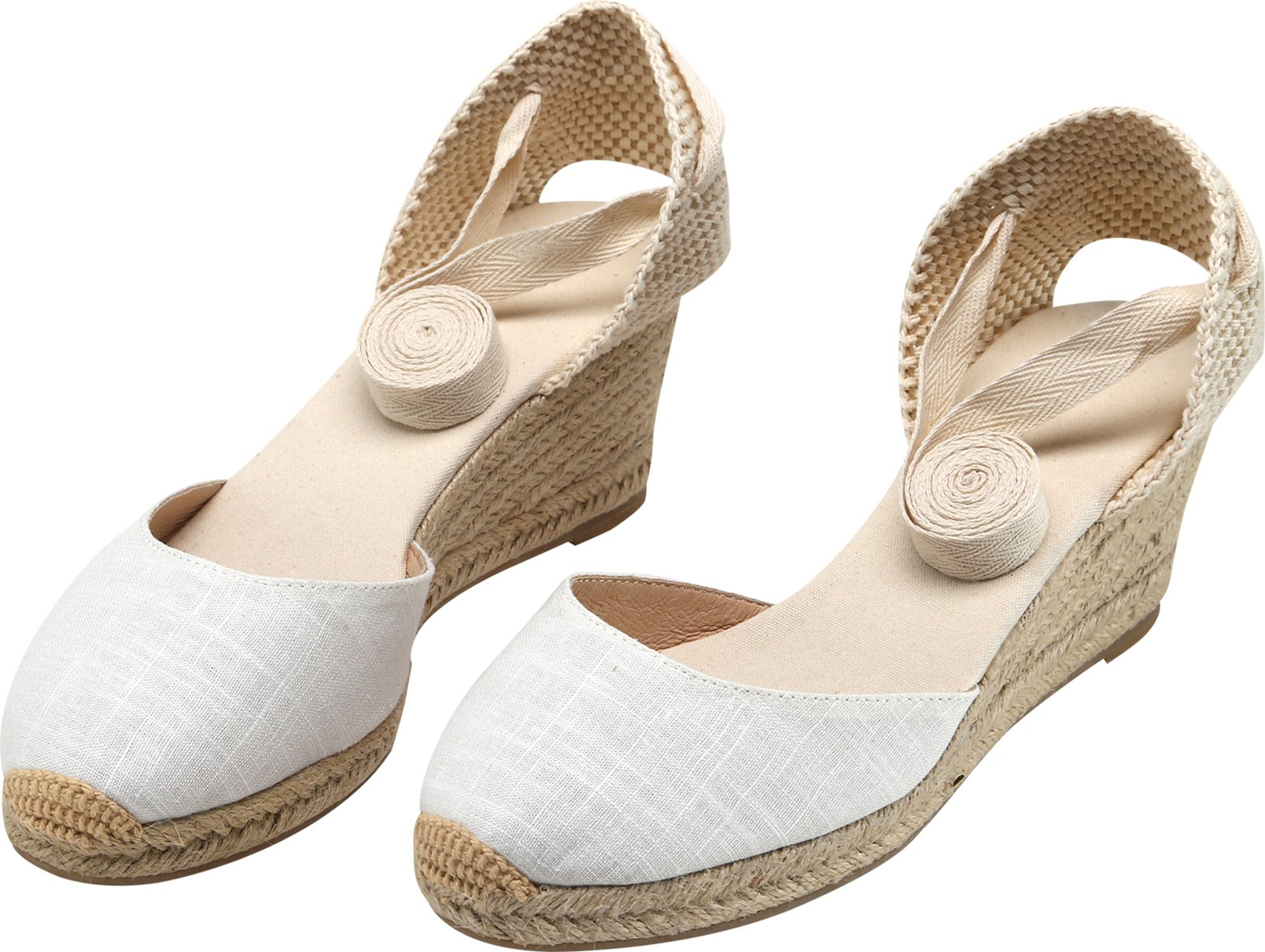 U-lite Women's Summer Leather Innersole Wedges Shoes, Ankle-Wrap Pompom Sandals White7 by U-lite (Image #4)