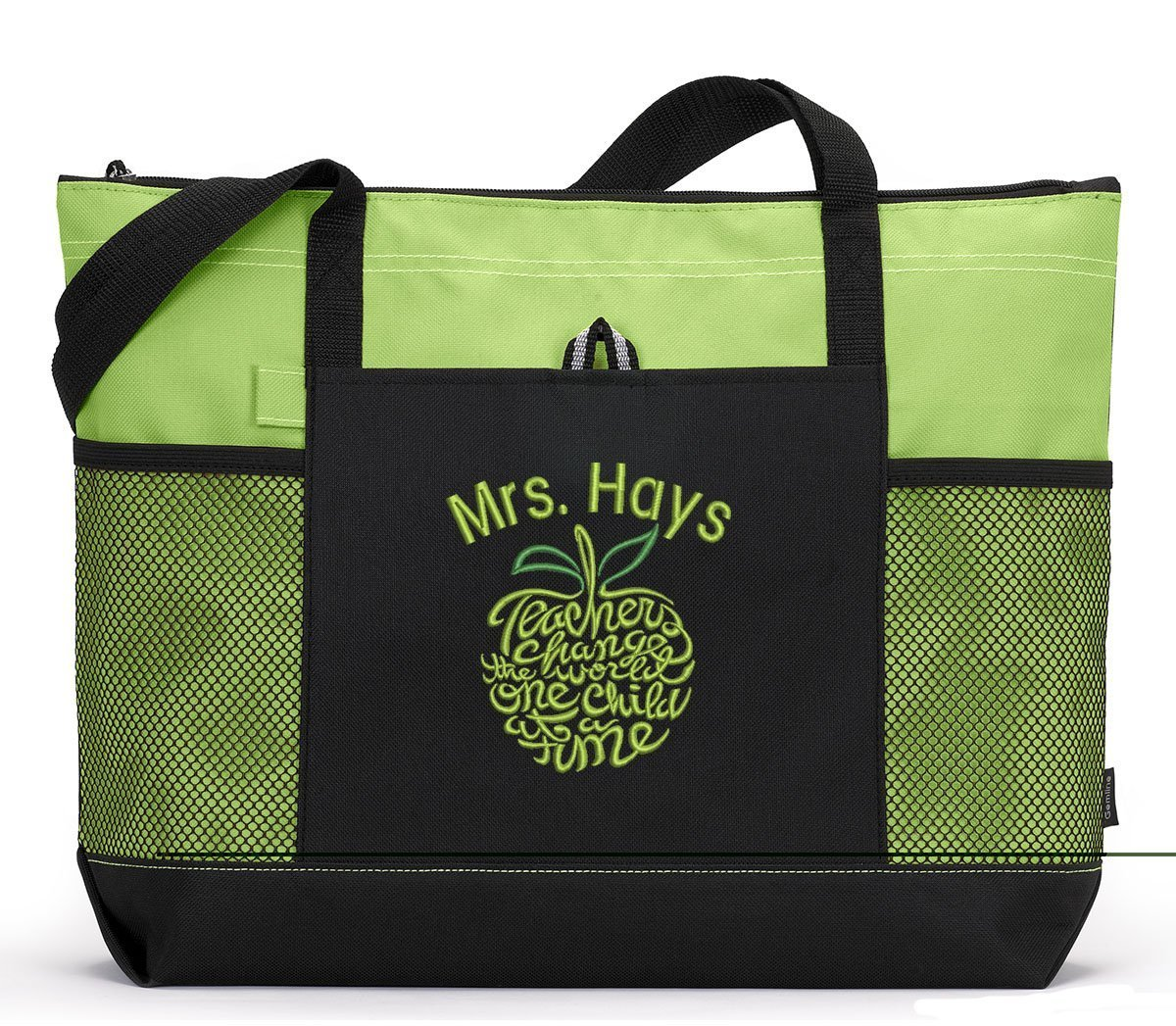 Teacher Tote Personalized with Mesh Pockets