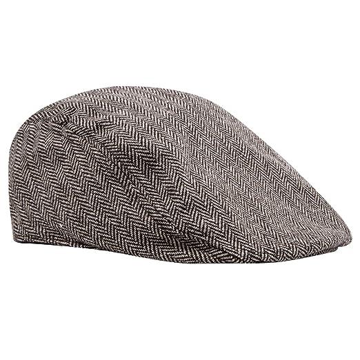 87dc84528f Pierre Cardin Men's Big and Tall Ivy Cap Tweed Herringbone Newsboy in Black  and Beige