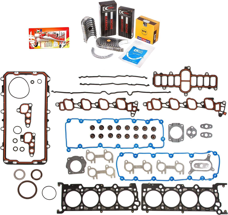 Domestic Gaskets Engine Rering Kit FSBRR8-30400EVE\0\1\1 Fits 99-03 Dodge Dakota Durango Jeep 4.7 SOHC Full Gasket Set 0.25mm 0.010 Oversize Main Rod Bearings Standard Size Piston Rings