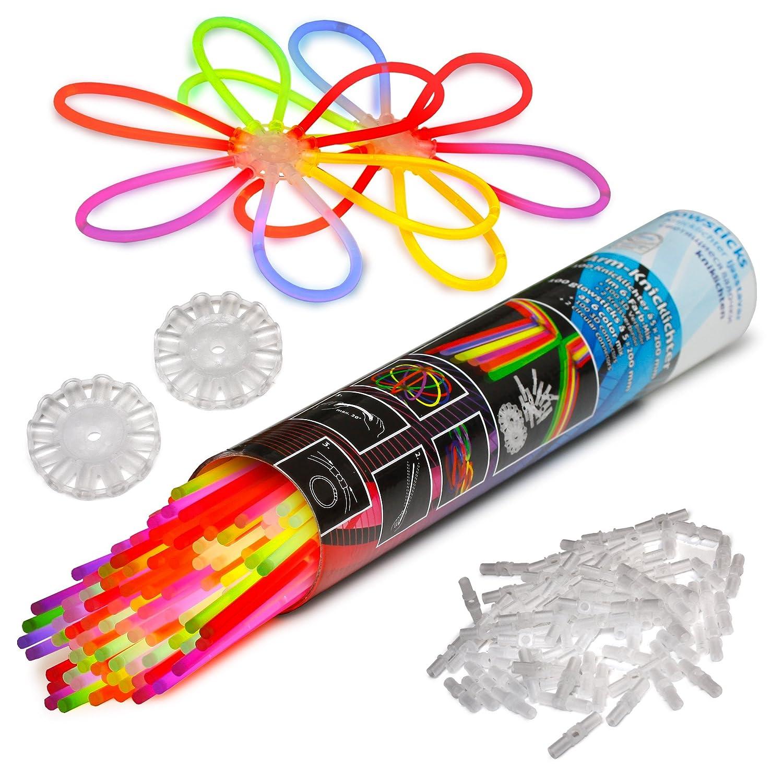100 Knicklichter KNIXS für Armbänder inkl. 100 x 3D-Verbinder, 2 x Ballverbinder, 2 x 7 Lochverbinder im 6-Farb-Mix in Profiqualität [Energieklasse A++] Kontor311 PGS-65480