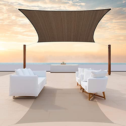ColourTree TAPR1216 Custom Size 12' x 24' Brown Sun Shade Sail Canopy UV Block Rectangle
