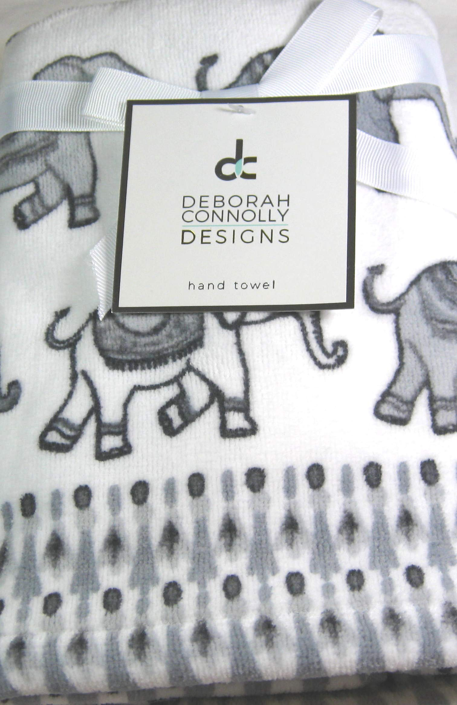 Set of 2 Decorative, Soft, Plush, Absorbent Hand Towels Parade of Elephants 100% Cotton