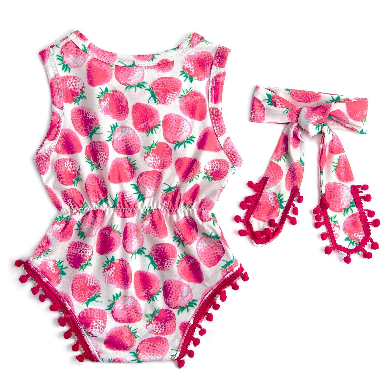 RAISEVERN Fruit Print Säugling Mädchen Outfit sicher Stoff Strampler rosa Kirsche Erdbeere ptinted Overall 6-12 Monate