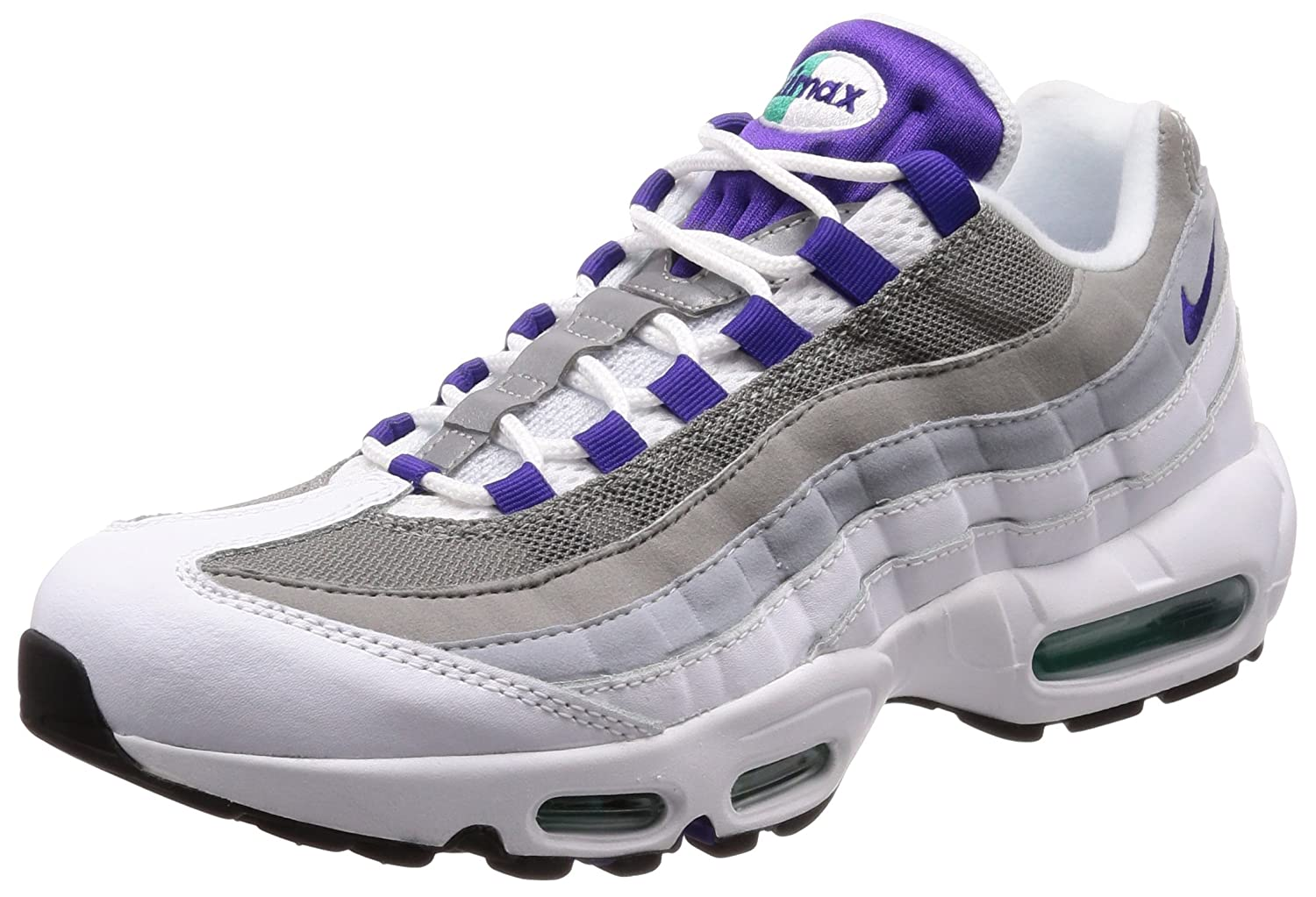 timeless design 5b9db 8957b Amazon.com   Nike Women s WMNS Air Max 95 Trainers, Multicolour  (White Emerald Green Wolf Grey Court Purple 109), 4.5 UK 38 EU   Road  Running