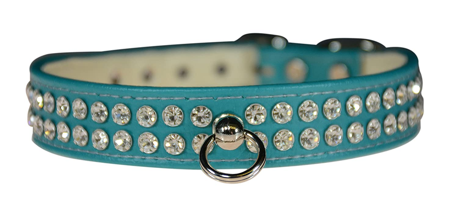 Evans Collars 3 4  Shaped Collar with Crystal Jewels, Size 18, Vinyl, Turquoise