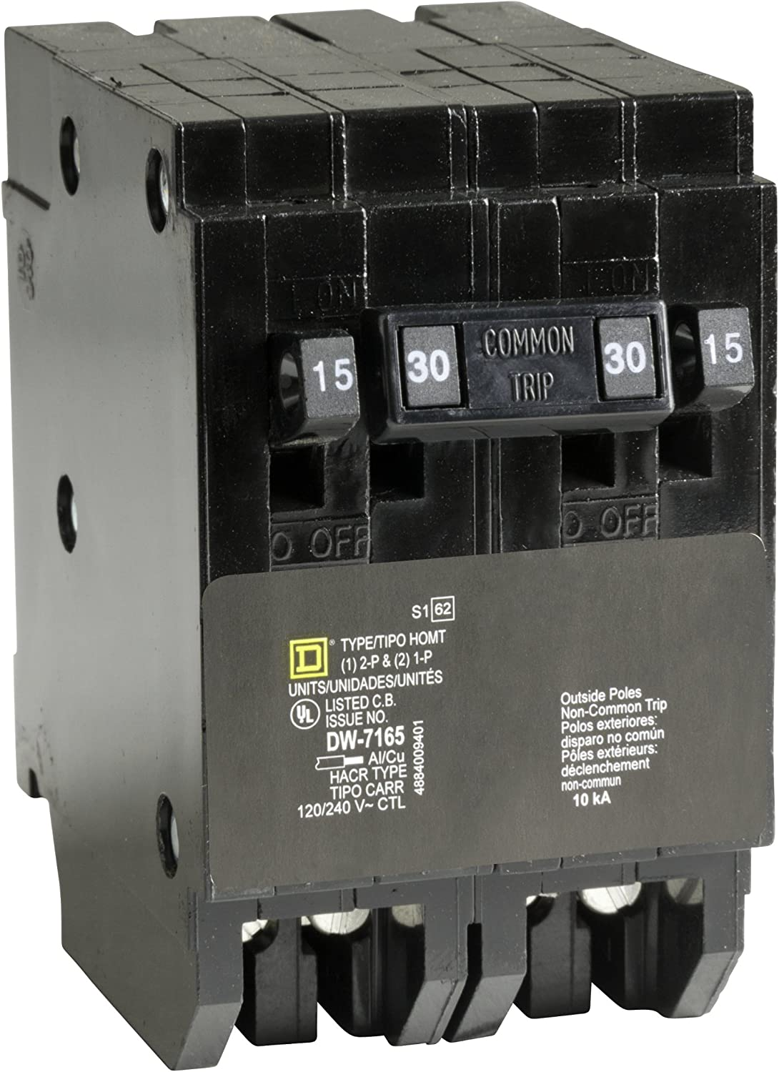 Square D by Schneider Electric HOMT1515230CP Homeline 2-15-Amp Single-Pole 1-30-Amp Two-Pole Quad Circuit Breaker