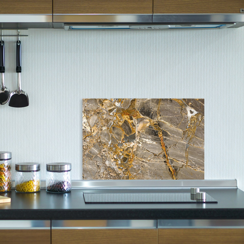 "Küchen Spritzschutz ""Marmor Gold"" | Küchenrückwand | Alu-DiBond ..."
