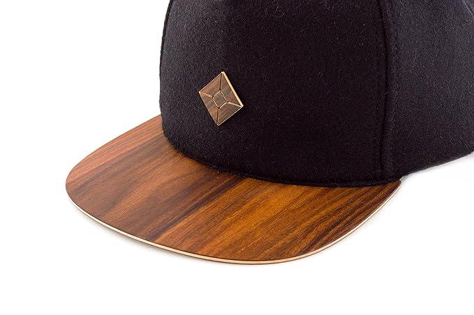 c21a95c62cb Amazon.com  AUSTRA Black Snapback hat with Natural PAU Ferro Wood Brim   Clothing